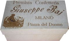Confezioni storiche Panettone Baj, Premiata Confetteria Baj Confectionery, Place Cards, Place Card Holders, Decor, Decoration, Decorating, Deco