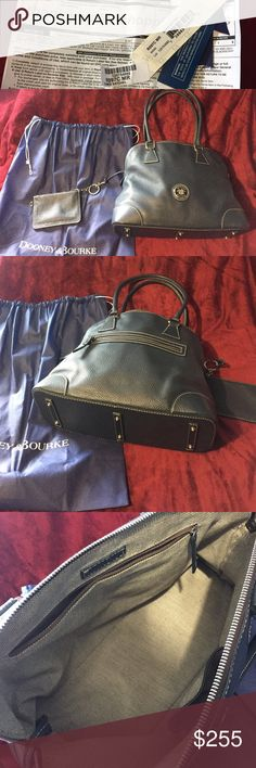 Dooney & Bourke All Weather Leather Satchel EUC Domed satchel by Dooney & Bourke Navy. Coin purse and dust bag included. Listed as Navy blue but looks like a dark Denim blue or marine. Inside very clean. Like new condition. Only one minor flaw on handle. Small scratch. Registered bag. Dooney & Bourke Bags Satchels