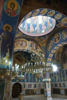Orthodox Prayers, Orthodox Christianity, Christian Church, Christian Art, Religious Icons, Religious Art, Fresco, Art Through The Ages, Church Interior