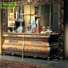 China furniture manufacturers supply custom wooden carved home cabinet with mirror. Gold Furniture, Furniture Covers, Furniture Styles, Dining Room Furniture, Custom Furniture, Luxury Furniture, Furniture Design, Furniture Manufacturers, Home Living Room