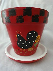 "Hand Painted Flower Pots | Hand Painted Terracotta 6"" Flower Pot Red with Black Rooster Plus Tray ..."