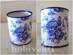 ♥♥ Hobi Vakti ♥♥ my favourite paper napkin pattern Decoupage Tins, Napkin Decoupage, Decoupage Furniture, Decoupage Vintage, Tin Can Art, Tin Art, Tin Can Crafts, Diy And Crafts, Recycle Cans