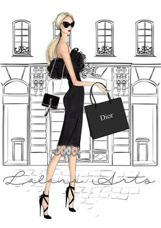 Fashion illustration Fashion wall decor Girly wall art Fashion wall art Dior art High fashion art Vanity art feminine art Girly dorm decor This is a print - copy of my original artwork drawn with soft pastel and watercolor pencils. Available in 3 different sizes: A6 (4x6inches), A5