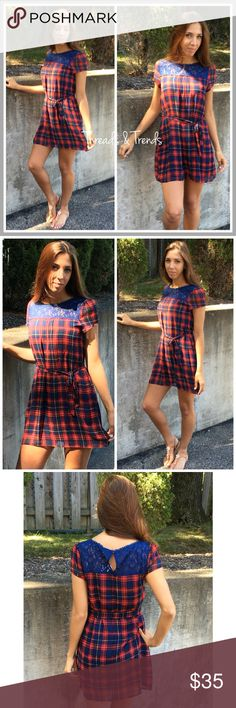 Casual Plaid Shift Dress Navy blue and red plaid shift dress with navy blue lace detailing in the front. Ties at waist. Key hold detailing in the back. Made of a chiffon material. Light weight perfect for back to school and the warmer months. Sizes S, M, L Dresses