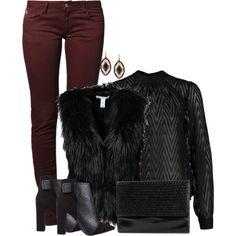 burgandy and fur Haley James Scott, Nathan Scott, Sheer Black Shirt, Black Fur Vest, Brooke Davis, Ootd Winter, Fur Gilet, Streetwear Brands, Winter Fashion