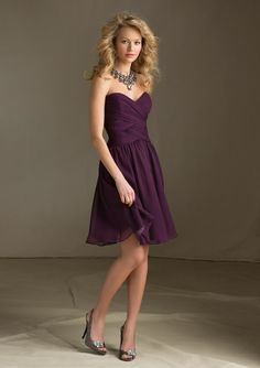 204110 Bridesmaids Dresses 204110 Short strapless Luxe Chiffon #ShortBridesmaidsDresses