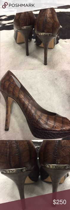 """Christian Dior Embossed Leather Crocodile Heels Platform CD peep toe heels. I was so in love with them that I bought the only pair left even though it was too big. (I'm a 38.5)  5"""" heels but very sturdy construction with platform. I almost never wear heels so wore them maybe 2 times. Christian Dior Shoes Heels"""