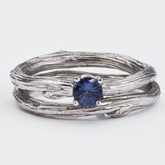 Blue Sapphire Solitaire Ring in White Gold Band Set- Woodland Branch Rings  www.bmjnyc.com