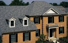 Roofing - Photo Gallery - CertainTeed Design Center, landmark georgetown gray more mottled Roof Shingle Colors, Metal Roof Colors, Exterior House Colors, Brick Siding, House Siding, House Roof, Light Blue Houses, Grey Houses, Certainteed Shingles