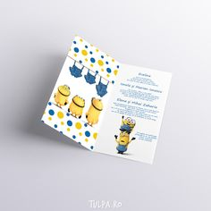 Invitatie de botez Minioni | Tulpa.ro Baby Shower, Character, Babyshower, Baby Showers