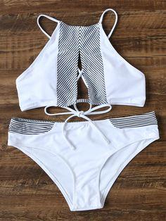 Shop White Striped Detail Cutout Front Bikini Set online. SheIn offers White Striped Detail Cutout Front Bikini Set & more to fit your fashionable needs.
