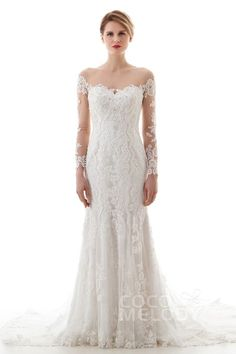 Charming Trumpet-Mermaid Illusion Dropped Court Train Lace and Tulle Ivory Long Sleeve Buttons Wedding Dress with Appliques and Beading LD4620