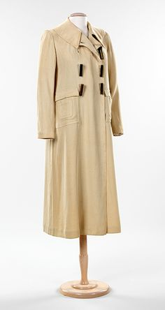 Elsa Schiaparelli, Coat with Bullet Casing Buttons, 1932–35 (New York: Brooklyn Museum Costume Collection at The Metropolitan Museum of Art, 2009.300.1212)