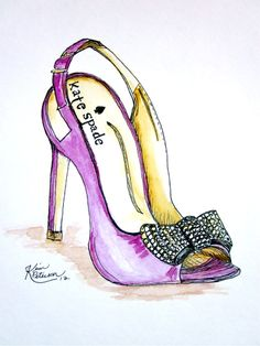 Fashion illustration: Kate Spade original shoe watercolor sketch. $24.00, via Etsy.