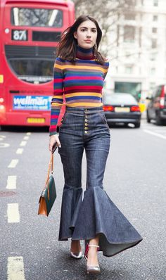 '70s-inspired look via Patricia Manfield wearing Striped Tutrle Neck and Flared Jeans
