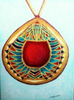 Pendentif égyptien. Acrylique, Christine Monsion