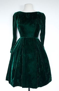 SALE Vintage GREEN VELVET 1960s Prom Dress by TrueValueVintage, $85.00