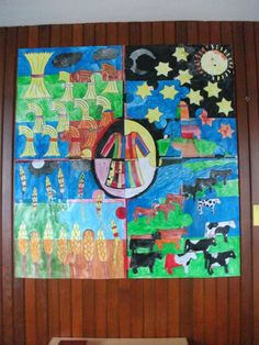 A display we did with our youth group (7 - 11 yr olds) when we were looking at the story of Joseph and the coat of many colors. each quarter was made up of 6 puzzle pieces (so 24 in total). kids painted them individually and they were then stuck together.  thinking was meant to be the dreams were a bit of a puzzle without God enabling Joseph to interpret them