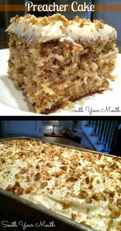 Preacher Cake: A super moist cake with crushed pineapple, pecans or walnuts and optional coconut with a cream cheese frosting. Baking Recipes, Cookie Recipes, Dessert Recipes, Frosting Recipes, Pie Recipes, Just Desserts, Delicious Desserts, Yummy Food, Awesome Desserts