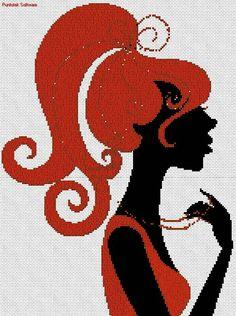 Dama de rojo en punto cruz