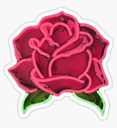 Pegatina Neon Pink Rose