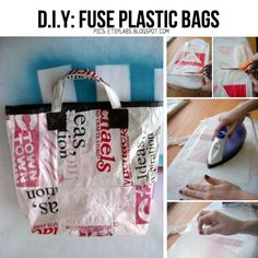 Get crafty with plastic bags! This DIY post explores the fusion of craft techniques like embroidery, crochet and braiding with the everyday plastic bag. Plastic Bag Crafts, Recycled Plastic Bags, Recycled Crafts, Diy Crafts, Plastic Shopping Bags, Plastic Grocery Bags, Knitting Machines For Sale, Fused Plastic, Plastic Bottles