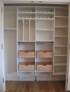 17 Awesome Pantry Shelving Ideas to Make Your Pantry More Organized To make the pantry more organized you need proper kitchen pantry shelving. There is a lot of pantry shelving ideas. Here we listed some to inspire you - Own Kitchen Pantry Small Pantry Closet, Pantry Room, Pantry Shelving, Shelves, Shelving Ideas, Storage Shelving, Storage Organization, Storage Closets, Kitchen Organization