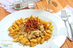 Mustáros sertésszűz sült hagymakarikával, serpenyős burgonyával Pasta Salad, Food Porn, Ethnic Recipes, Crab Pasta Salad, Treats