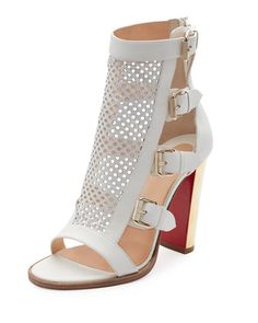Fencing Perforated 100mm Red Sole Sandal, Latte by Christian Louboutin at Neiman Marcus.