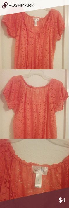 Just Be Floral Orange Coral Top Shirt Size Large ! Just Be Nylon Lace Floral Orange Coral Top Shirt Size Large unused in excellent condition without damages with two strings attached to the front.Price Is Firm Without Discounts And Direct Message Only If Interested. Just Be Tops