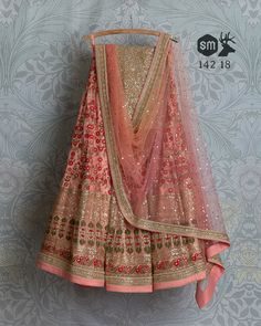 SwatiManish Lehengas SMF LEH 142 18 Blossom threadwork sequin lehenga with peach pink shaded badla dupatta and light gold sequin blouse Indian Wedding Gowns, Indian Bridal Outfits, Indian Gowns Dresses, Indian Bridal Lehenga, Indian Designer Outfits, Wedding Sari, Lehnga Dress, Lehenga Gown, Party Wear Lehenga