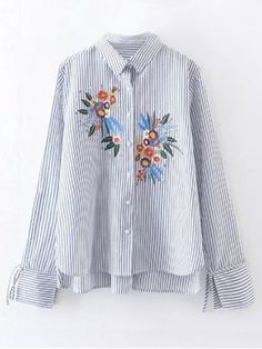 77d126d7371 High Low Flower Embroidered Striped Shirt - STRIPE S Floral Embroidery