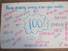 Here is an easy math idea for the day of school, or any day really. I actually started this on the first day one year and used it as a math warm-up with graders. Each day, we would find as many ways as possible to make that number. I think that was the… 100 Days Of School, School Holidays, School Fun, Middle School, School Stuff, Spring School, Math Resources, Math Activities, Math Games
