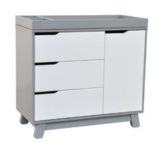 Amazon.com: babyletto Hudson Changer Dresser, Grey/White: Baby. Don't need it, but this is clever plus cute and modern (the changing table tray is removable to become a regular dresser), and the drawers plus shelves is a good idea. $400 from amazon.