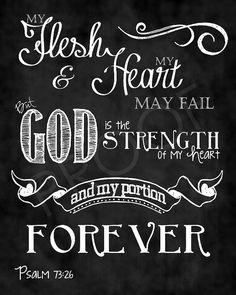 Mounted Scripture Art 16x20 - Psalm 73:26 Chalkboard Print