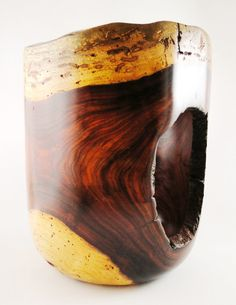 Wood Vase No130316  Cocobolo Natural Edge by conreysa on Etsy, $160.00