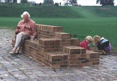 The Brick Urban Furniture - Brick Photos Collections Urban Furniture, Street Furniture, Brick Wallpaper Beige, Backyard Water Fountains, Fire Pit Bench, Brick Projects, Brick Columns, Brick Art, Brick Accent Walls
