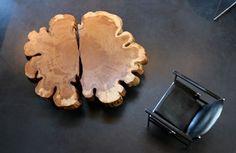 Kaffeetisch Baumstamm Design Holz Leder Sessel