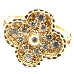 Van Cleef & Arpels Vintage Alhambra Diamond Gold Ring | From a unique collection of vintage cocktail rings at https://www.1stdibs.com/jewelry/rings/cocktail-rings/