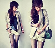 blazer with lace shorts
