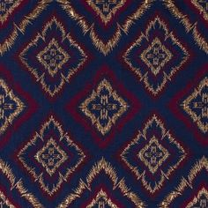 Metallic Gold/Blue/Maroon Geometric Brocade Fabric by the Yard | Mood Fabrics