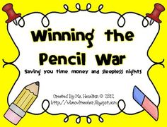 {FREEBIE}  Kinder- 1st-2nd-3rd-4th-5th-6th   Winning the Pencil War - An Effective Management System-  What do you have to lose? Here's to never hearing that electric pencil sharpener as you give directions EVER again!