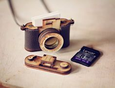 SD card holder wooden leather camera necklace