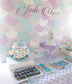 Modern Mermaid Themed Birthday Party via Kara's Party Ideas KarasPartyIdeas.com Tutorials. giveaways, printables, banners, food and more! #mermaid #mermaidparty #mermaidcupcakes #karaspartyideas (6)