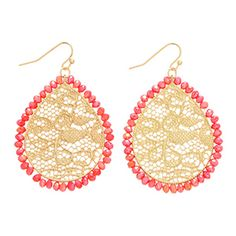 """2"""" Gold tone fishhook filigree earrings with red beaded accents"""