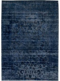 "Navy Blue Persian Antique Overdyed Rug 8' 3"" x 11' 8"" (ft) - No. 16091"
