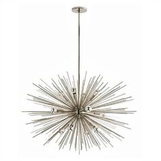 Presented by Arteriors Home, the twelve light Zanadoo Chandelier features a modern sphere shape starburst design! Finished in polished nickel, this stylish lighting will illuminate your home from the foyer to the master en suite. *Approved for Covered Outdoor Living Area