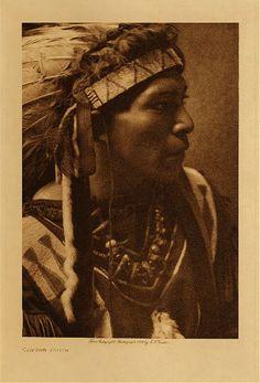 c 1909 Cayuse Indian man  photo: Edward S. Curtis  (Native American, Oregon, headdress, feathers, beadwork, beaded)