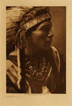 c 1909 Cayuse Indian man  photo: Edward S. Curtis  (Native American, Oregon, headdress, feathers, beadwork, beaded)