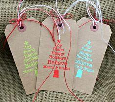 Embossed Christmas Gift Tags by Sheri Feypel via Jillibean Soup blog